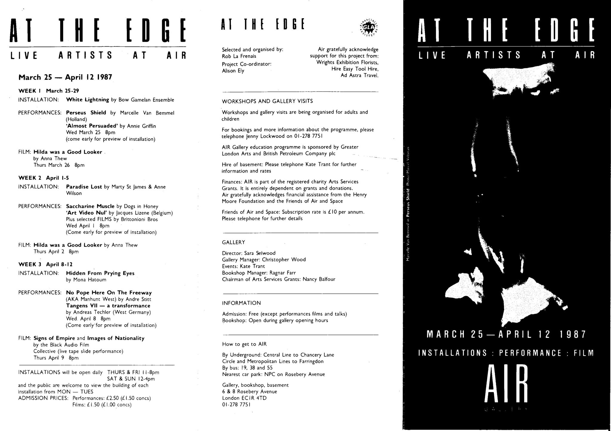 At the Edge, Leaflet/ Full programme, 1987  (Page 1 of 2)  Courtesy